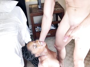 Gorgeous Young Black Chick Facialized In A Hotel Room