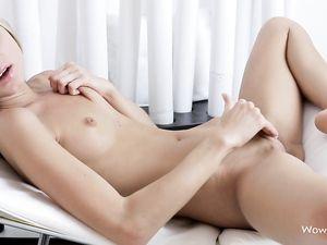 Tiny Teen Cutie Masturbates Her Shaved Pussy