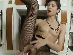 Black Fishnet Lingerie Teen Fucks A New Dildo