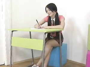 Schoolgirl With Pigtails Getting Banged In The Classroom