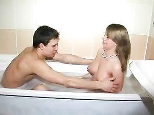 Wet Teen Slut Gives A blowjob In The Bathtub