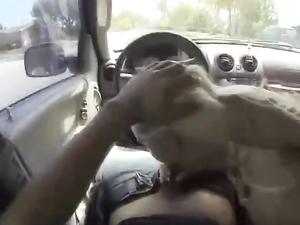 Bleach Blonde Cocksucker Blows Him In The Car