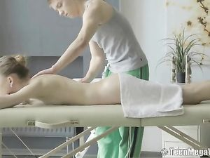 Massage Teen Fucked From Behind On The Table