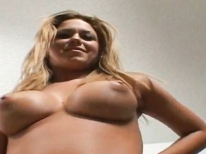 Big Titty Babe With A Tongue Piercing Sucks Cock
