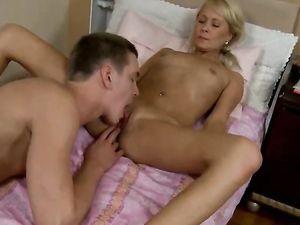 Blonde Teenager Sensually Sucks Dick In The Bedroom